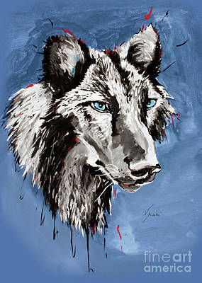Wolves Painting - Black Wolf - Animal Art By Valentina Miletic by Valentina Miletic