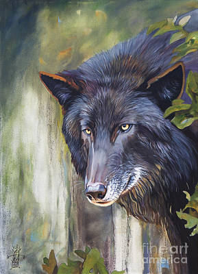 Painting - Black Wolf by J W Baker