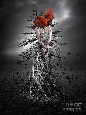 Digital Art - Black Wooden Heart by Babette Van den Berg