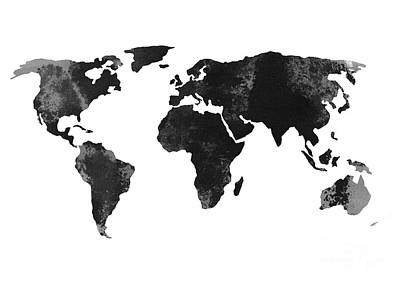 Black World Map Silhouette Art Print by Joanna Szmerdt