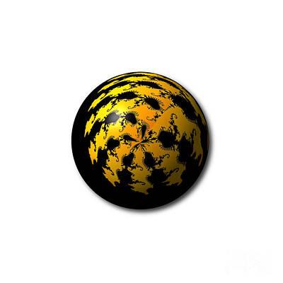Digital Art - Black Yellow Abstract Globe by Henrik Lehnerer