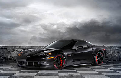 Lightning Photograph - Black Z06 Corvette by Peter Chilelli