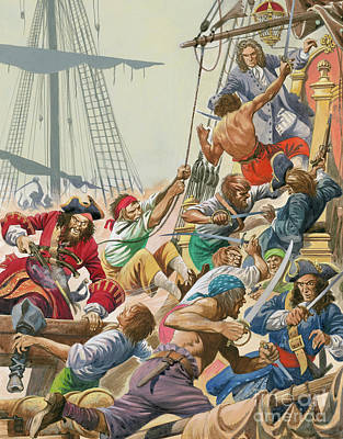 Pirate Ship Painting - Blackbeard And His Pirates Attack by Peter Jackson