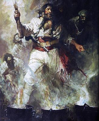 Blackbeard Painting - Blackbeard In Smoke And Flames by PaintingAssociates