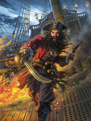 Pirate Ship Digital Art - Blackbeard by Mark Fredrickson