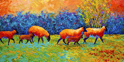 Farm Animal Painting - Blackberries And Sheep II by Marion Rose