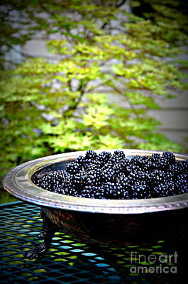 Blackberries In Silver Dish Print by Tanya  Searcy
