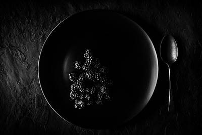 Slate Photograph - Blackberries On Black Plate  by Johan Swanepoel