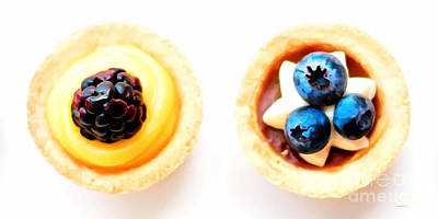 Blackberry And Blueberry Cake Pastry Painterly 20170916 Long Art Print