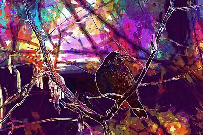 Digital Art - Blackbird Bird Branch Black Nature  by PixBreak Art