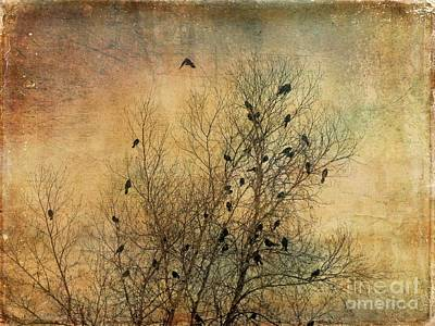 Digital Art - Blackbird Congregation by Dee Flouton