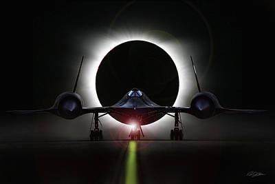 Digital Art - Blackbird Eclipse by Peter Chilelli