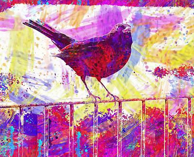Digital Art - Blackbird by PixBreak Art