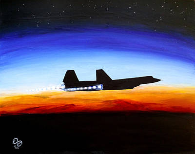 Sr-71 Painting - Blackbird Twilight by Earl Billick