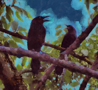 Starlings Painting - Blackbirds Singing by Theresa Campbell