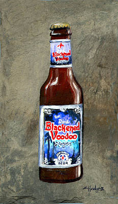Blackened Voodoo Beer Art Print by Elaine Hodges