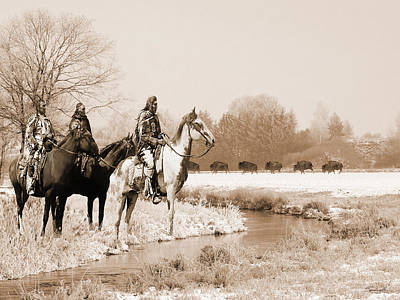 Digital Art - Blackfoot On The Buffalo Trail by IM Spadecaller