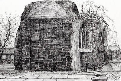 Pen And Ink Tree Drawing - Blackfriars Chapel St Andrews by Vincent Alexander Booth