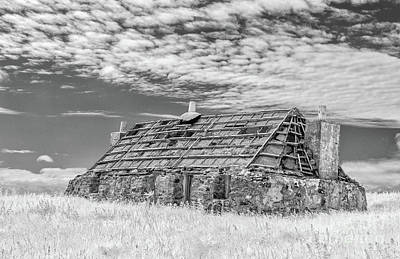 Infra-red Photograph - Blackhouse North Uist by Janet Burdon