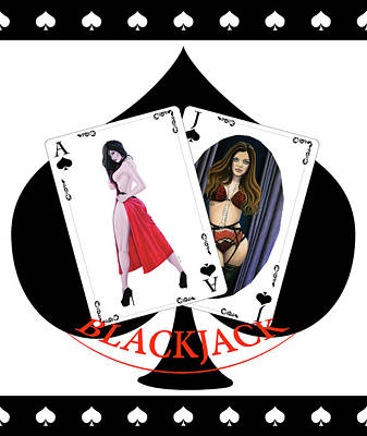 Digital Art - Black Jack Spades by Joseph Ogle