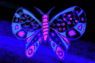 Drawing - Blacklight Butterfly by Adria Trail