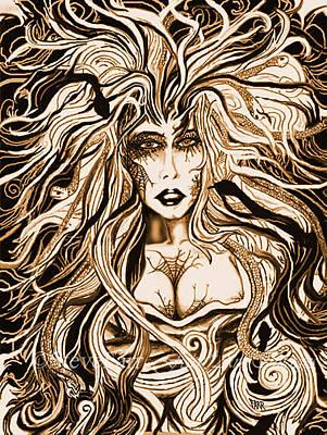 Sepia Ink Mixed Media - Blackmedusa-sepia by Steve Farr