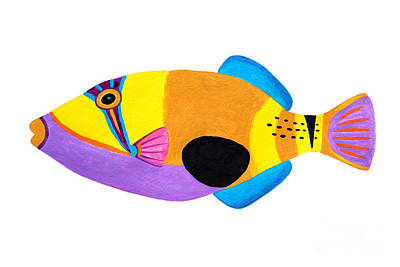 Triggerfish Painting - Blackpatch Triggerfish  by Opas Chotiphantawanon