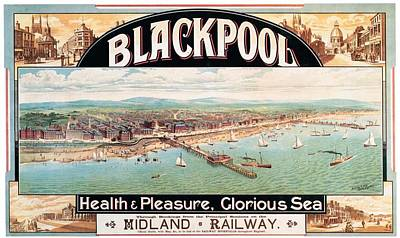 England Mixed Media - Blackpool, England - Retro Travel Advertising Poster - Seaside Resort - Vintage Poster by Studio Grafiikka
