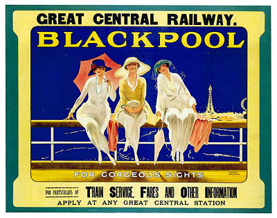 Royalty-Free and Rights-Managed Images - Blackpool, England - Retro Travel Advertising Poster - Three fashionable women - Vintage Poster -  by Studio Grafiikka