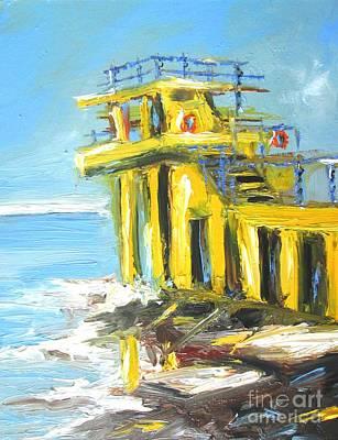 Diving Board Painting - Blackrock Diving Board Galway Ireland  by Mary Cahalan Lee- aka PIXI