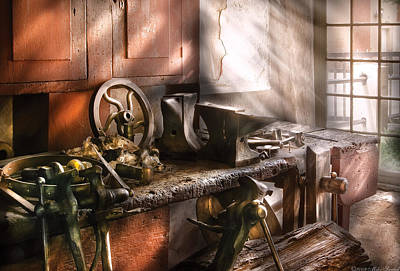 Blacksmith - In My Grandfather's Workshop - Current Art Print by Mike Savad