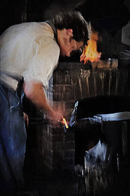 Historical Re-enactments Mixed Media - Blacksmith 2 - Pioneer Village by Steve Ohlsen