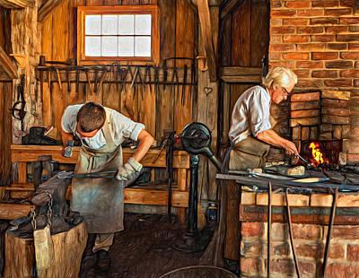 Metal Photograph - Blacksmith And Apprentice 3 - Paint by Steve Harrington
