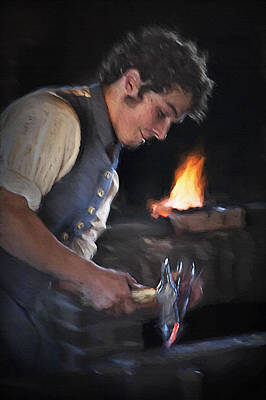 Historical Re-enactments Mixed Media - Blacksmith - Pioneer Village by Steve Ohlsen