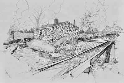 Drawing - Blacksmith Shop At Waterloo Village , N.j.  by Alan Johnson