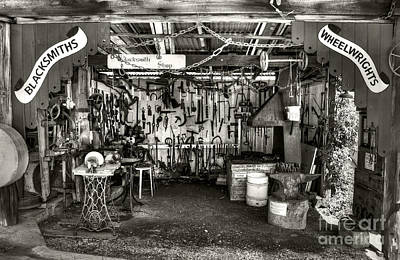 Photograph - Blacksmith Shop Monochrome By Kaye Menner by Kaye Menner