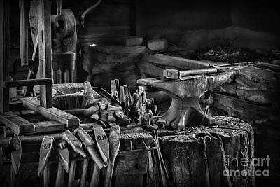Machine Shop Photograph - Blacksmith-this Is My Anvil Black And White by Paul Ward