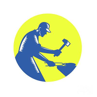 Blacksmith Worker Forging Iron Circle Woodcut Art Print