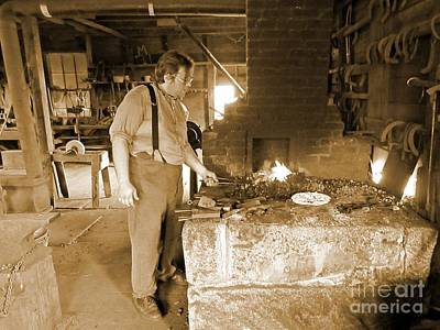Blacksmith Working In Shop Original