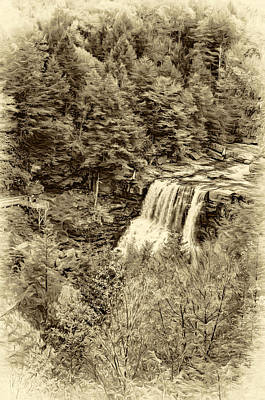 Blackwater Falls Wv - Sepia Art Print