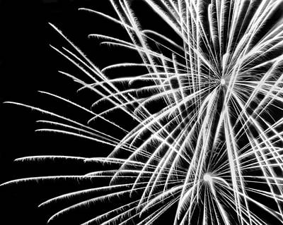 Photograph - Black And White Fireworks by Angela Murdock