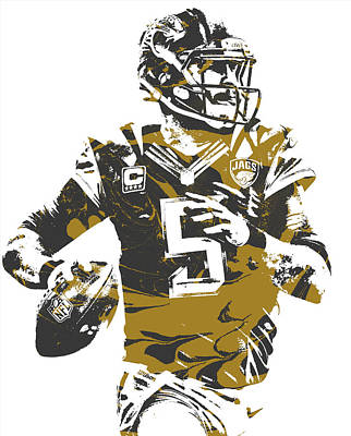 Mixed Media - Blake Bortles Jacksonville Jaguars Pixel Art 12 by Joe Hamilton