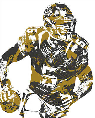 Mixed Media - Blake Bortles Jacksonville Jaguars Pixel Art 13 by Joe Hamilton