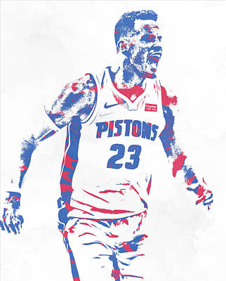 Mixed Media - Blake Griffin Detroit Pistons Pixel Art 2 by Joe Hamilton