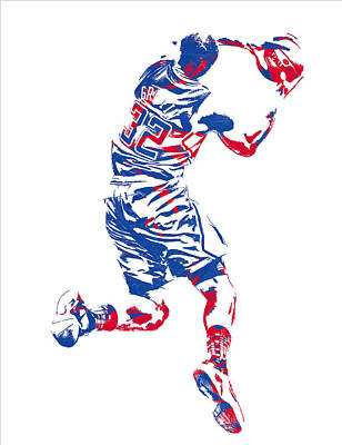 Los Angeles Clippers Mixed Media - Blake Griffin Los Angeles Clippers Pixel Art 20 by Joe Hamilton