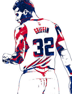 Los Angeles Mixed Media - Blake Griffin Los Angeles Clippers Pixel Art 4 by Joe Hamilton