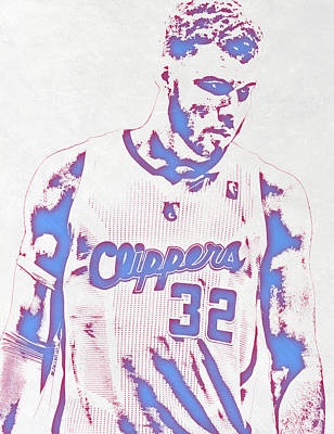 Los Angeles Clippers Mixed Media - Blake Griffin Los Angeles Clippers Pixel Art by Joe Hamilton