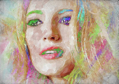 Photograph - Blake Lively Watercolor by Ricky Barnard