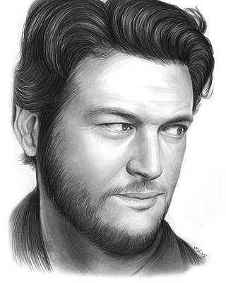Country Drawing - Blake Shelton by Greg Joens