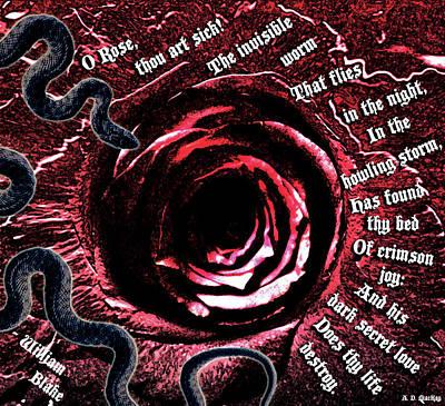 William Blake Digital Art - Blake's Rose by Celtic Artist Angela Dawn MacKay